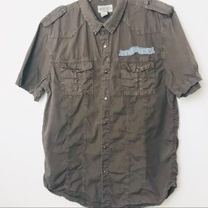 American Rag Shirts - Brown Men Button up Shirt w cool details A05